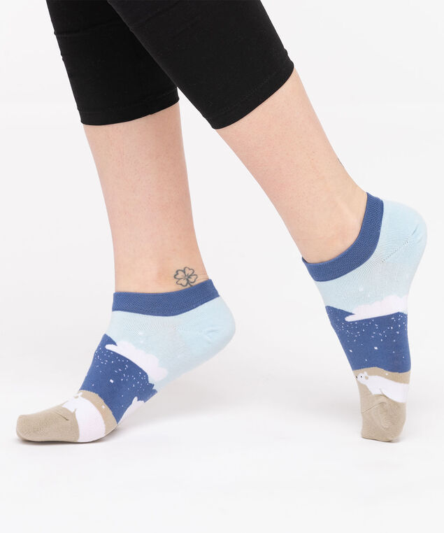 Polar Bear Ankle Socks, Blue/Pearl