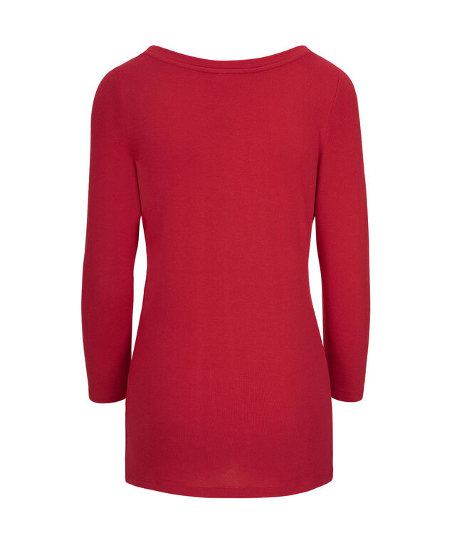 Studded Long Sleeve Henley Top, Cherry, hi-res