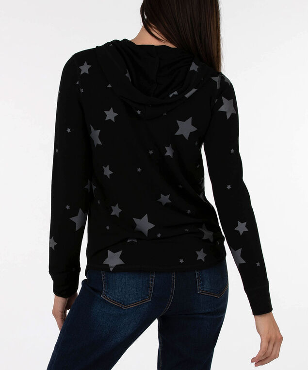 Star Print Zipper Front Hoodie, Black/Dark Grey, hi-res