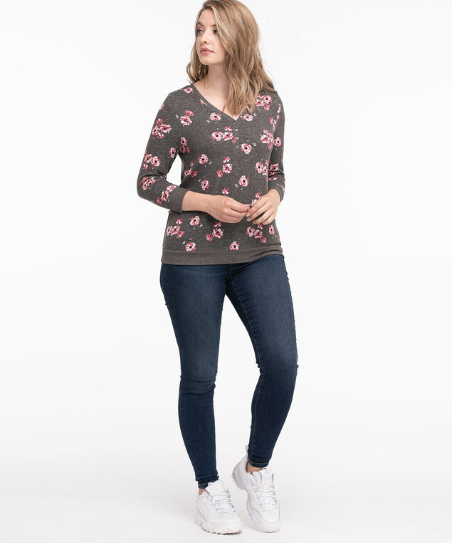 Ribbed Trim Henley Top, Grey/Pink Floral