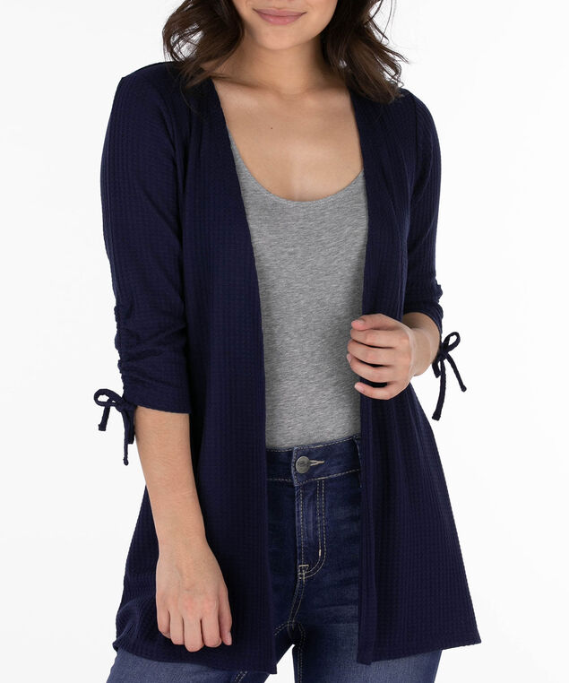 Ruched Sleeve Open Waffle Cardigan, Deep Sapphire, hi-res