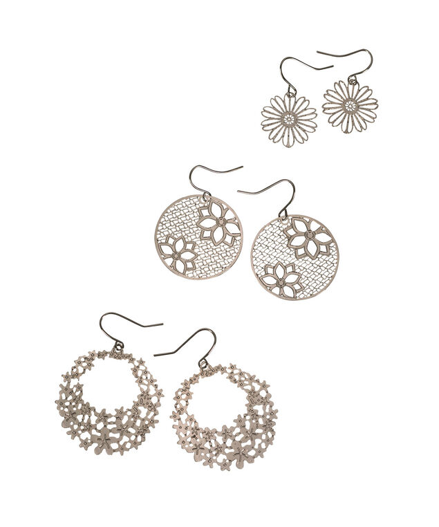 Floral Filigree Earring Set, Rhodium, hi-res