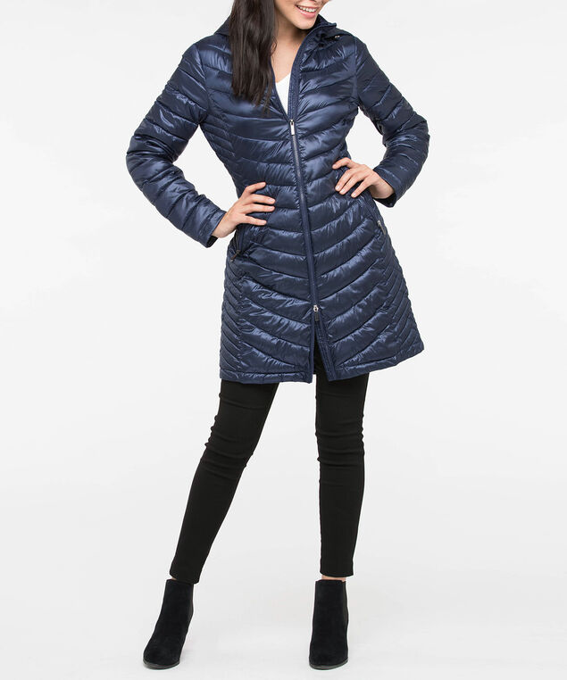 Hooded Chevron Long Puffer Jacket, Navy, hi-res
