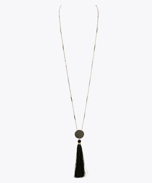 Silver Disc Black Tassel Necklace, Black/Rhodium, hi-res