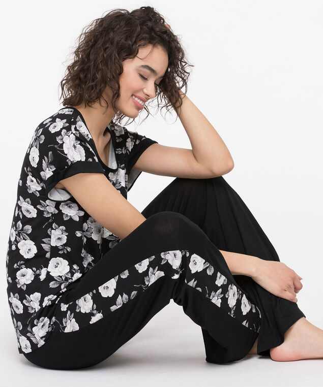 Floral Print Pajamas, Black/Peal/Grey, hi-res