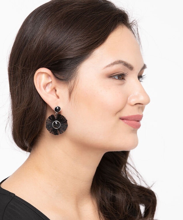 Tassel Edge Crystal Earring, Black, hi-res