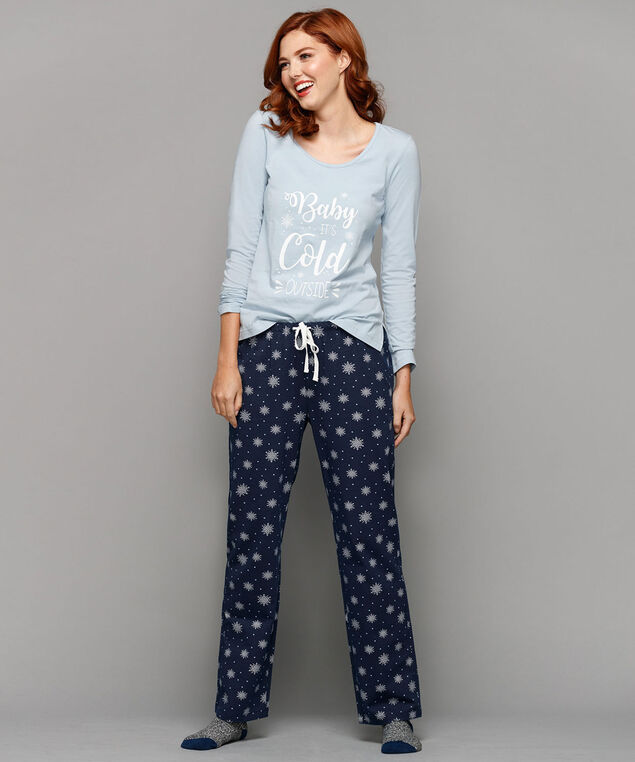 Snowflake Pajama Set, Light Blue/Deep Sapphire, hi-res