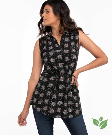 Eco-Friendly Sleeveless Belted Tunic Blouse, Clustered Dot, hi-res