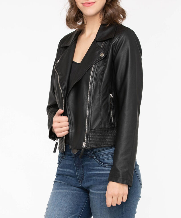 Faux Leather Moto Jacket, Black, hi-res