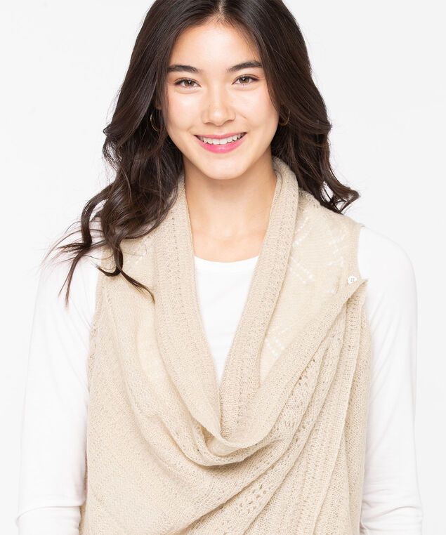 Silver Jeans Co. Open Pointelle Vest, Taupe, hi-res