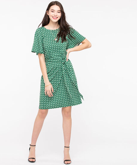 Elbow Sleeve Tie Waist Dress, Jade/Pearl/Sky Blue/Black, hi-res