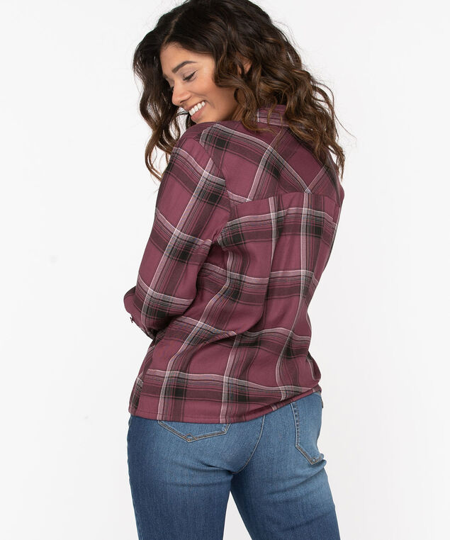 Button Front Drawstring Blouse, Windsor Wine/Black Plaid, hi-res