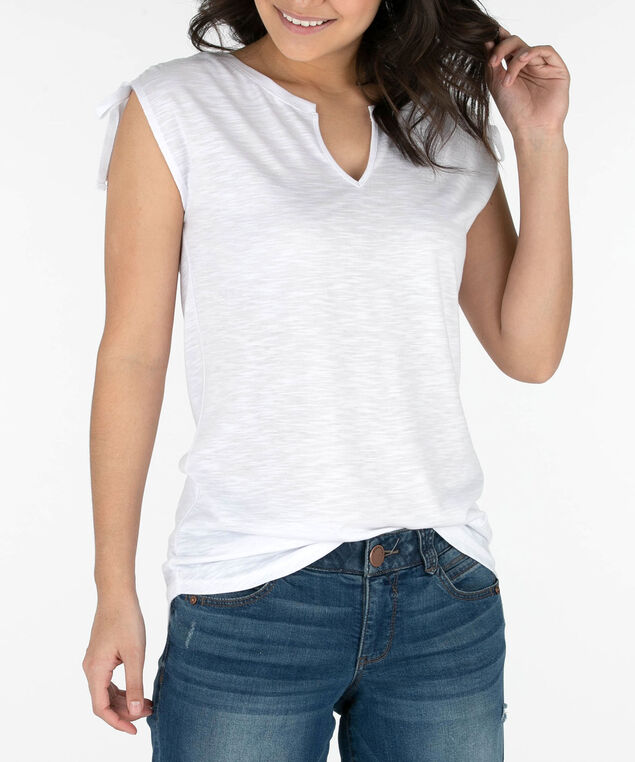 Sleeveless Notch Neck Ruched Top, White, hi-res