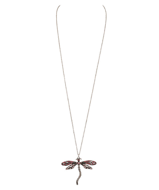 Dragonfly Pendant Necklace, Pastel Pink/Burnished Silver, hi-res