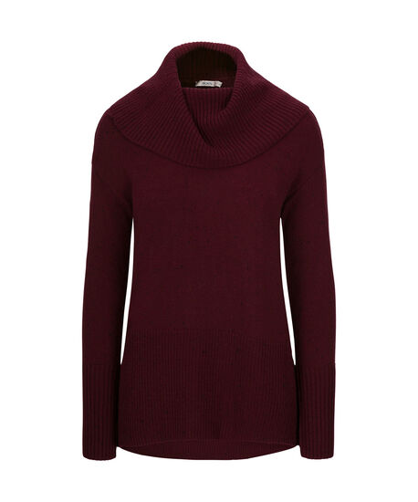 Ribbed Cowl Neck Pullover Sweater, Wine/Black, hi-res