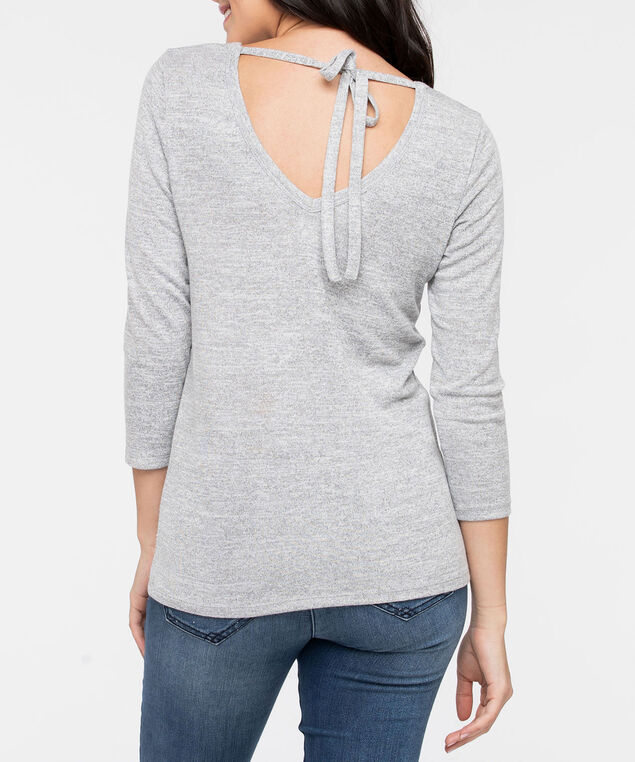 V Neck Tie Back Knit Top, Heathered Grey, hi-res