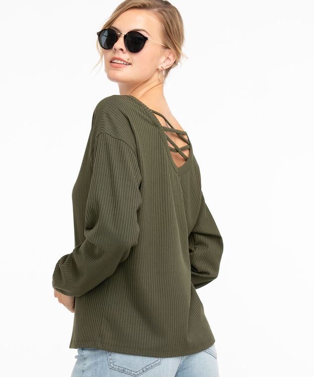 Ribbed Long Sleeve Back Detail Top, Forest Night