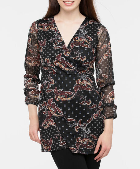 Long Sleeve Paisley Wrap Tunic, Black/Marigold/Rust, hi-res