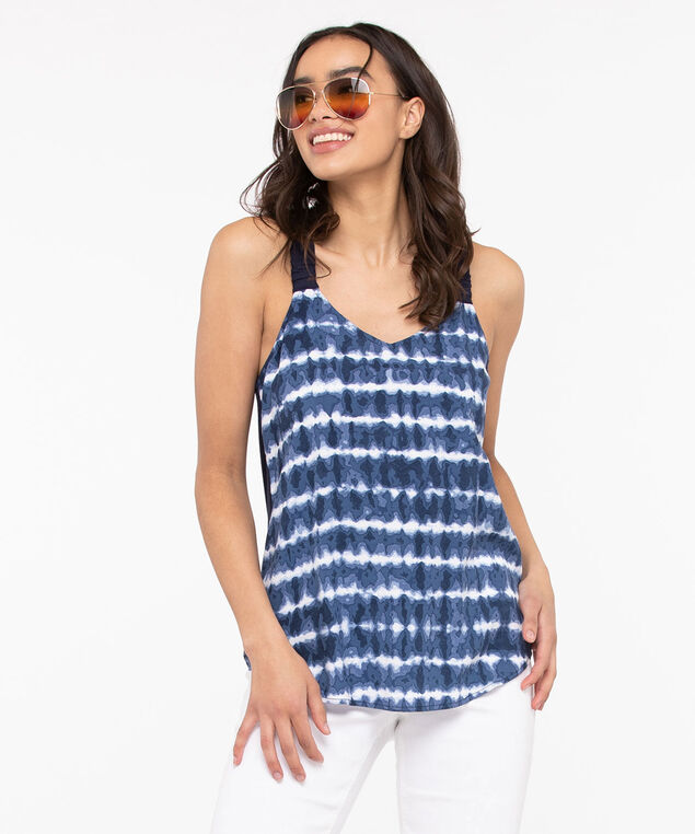 Tie Dye Challis Sleeveless Top, Summer Navy/True White, hi-res