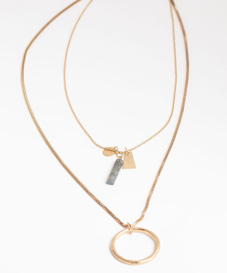 Layered Charm & Pendant Necklace, Gold, hi-res