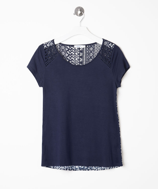 Crochet Trim Mixed Media Top, Summer Navy/Pearl, hi-res