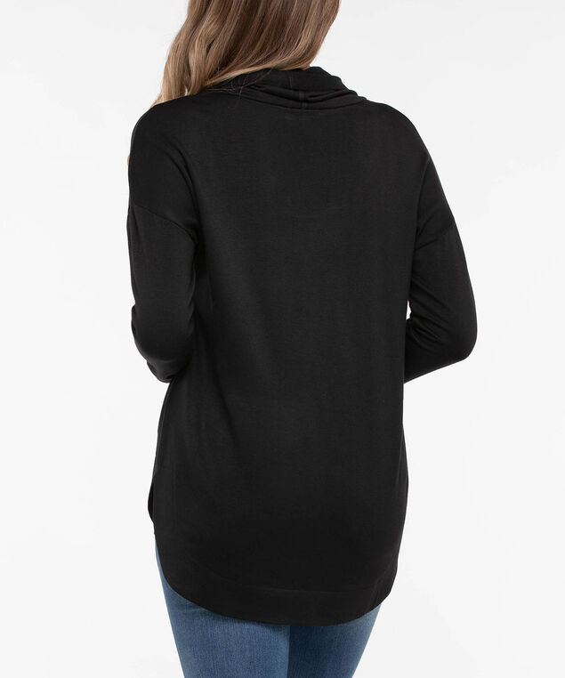 Long Sleeve Cowl Neck Knit Top, Black, hi-res
