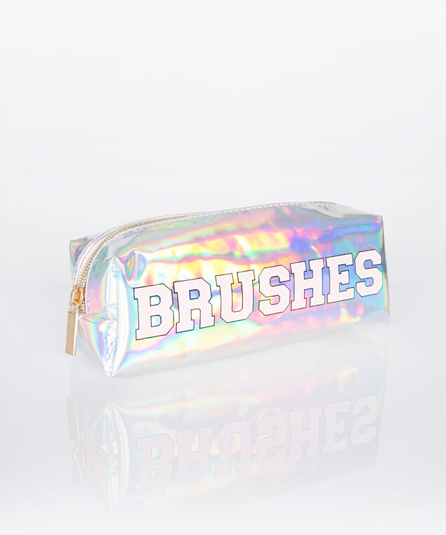 Brushes Chrome Cosmetic Pouch, Pastel Pink/Gold, hi-res