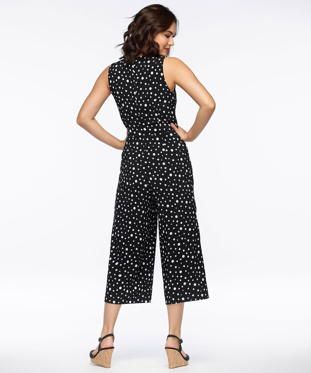 Polka Dot Crossover Jumpsuit, Black/White, hi-res