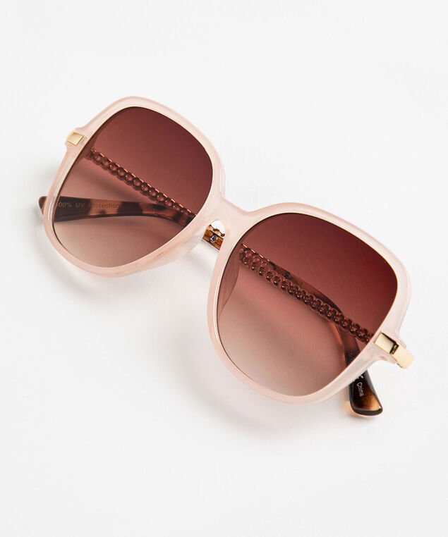 Pink Square Frame Chain Sunglasses, Pink/Gold