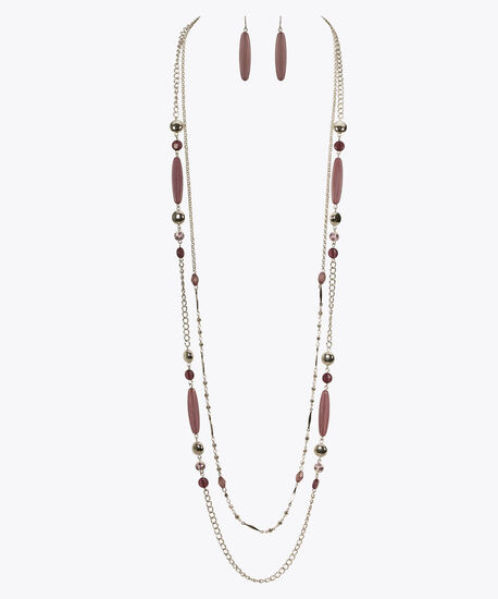 Stationed Long Bead Necklace Set, Iced Violet/Purple/Rhodium, hi-res