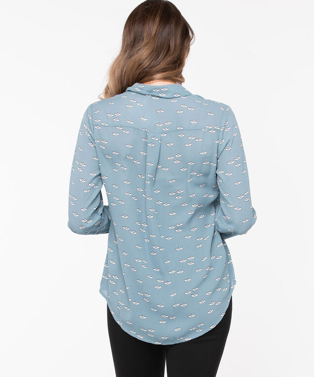 Printed Button Front Collared Blouse, Soft Blue Origami, hi-res