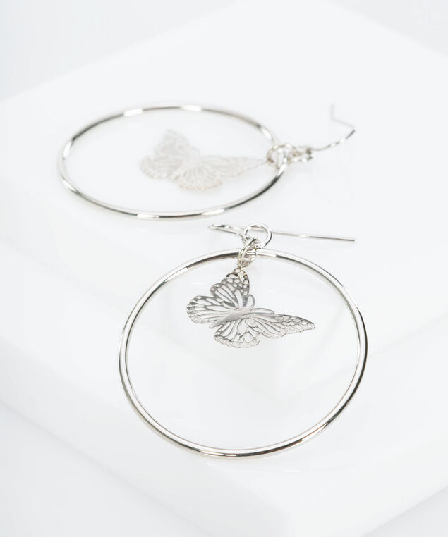 Butterfly Hoop Earring, Rhodium, hi-res