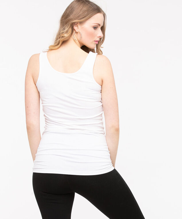 Longer Length Tunic Cami, White, hi-res