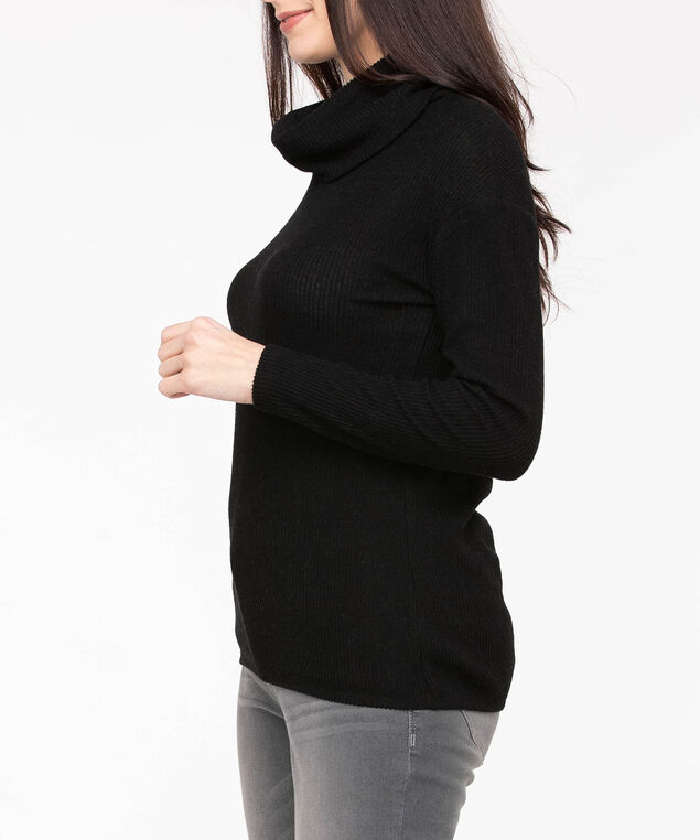 Cowl Neck Bubble Hem Top, Black, hi-res