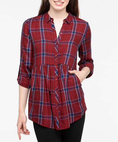 Roll Sleeve Collared Plaid Blouse, Burgundy/Ink Blue/Pearl, hi-res