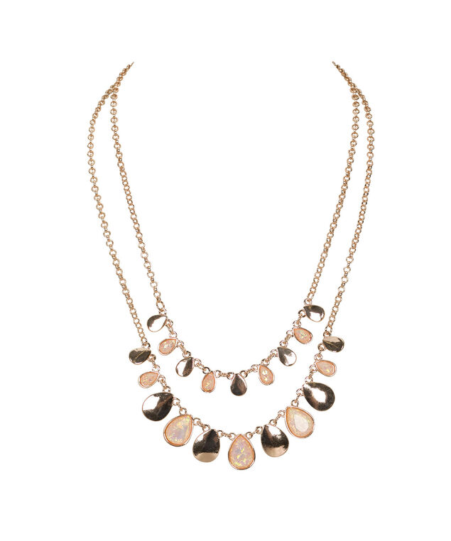 Teardrop Mini Statement Necklace, Pastel Pink/Rose Gold, hi-res