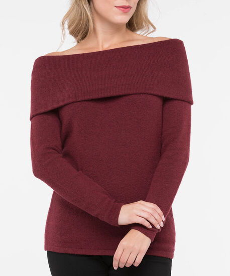 Off-the-Shoulder Cowl Neck Sweater, Rust, hi-res