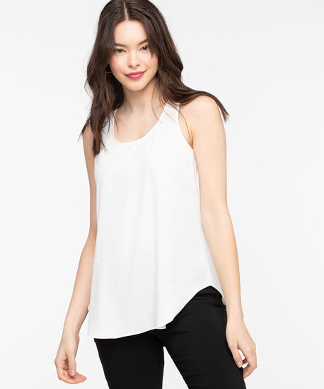 Pleat Back Woven Essential Cami, White, hi-res