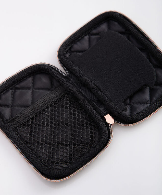 Quilted Ear Bud Case, Black/Rose Gold, hi-res