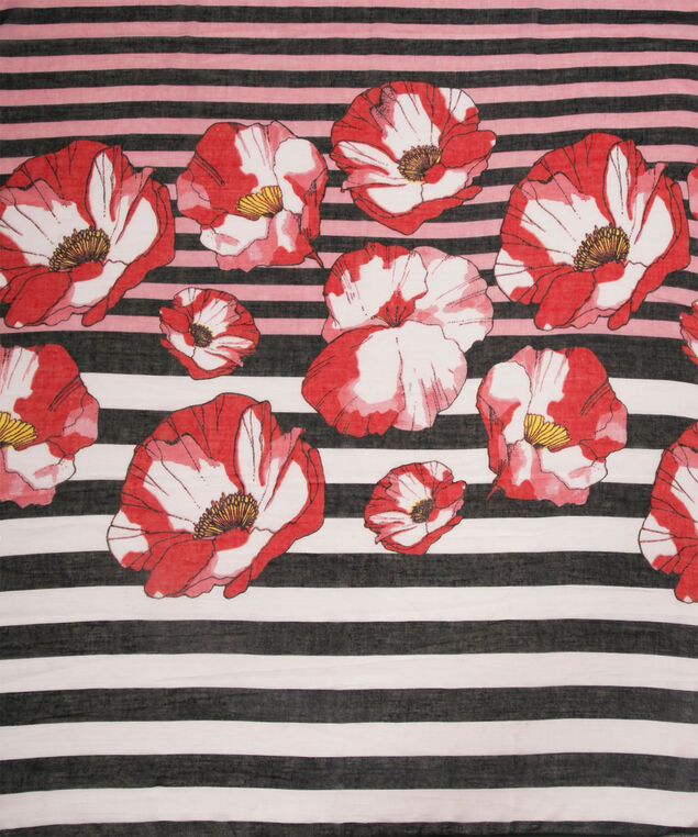 Floral Striped Oblong Scarf, Pink/Red/Navy/White, hi-res