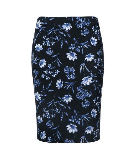 Floral Scuba Pencil Skirt, Navy/Black/Pearl, hi-res