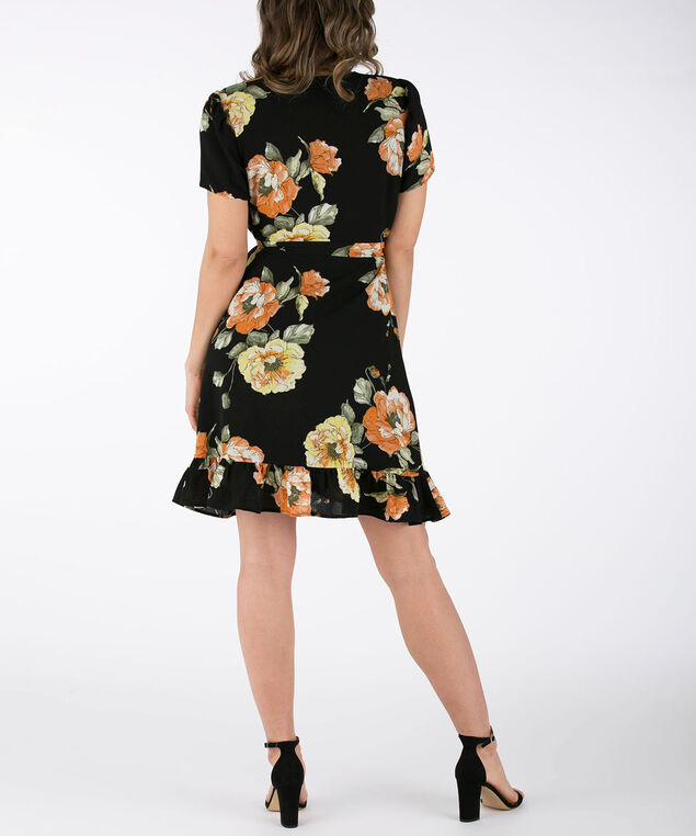 Floral Ruffled Hem Wrap Dress, Black/Yellow/Olive, hi-res