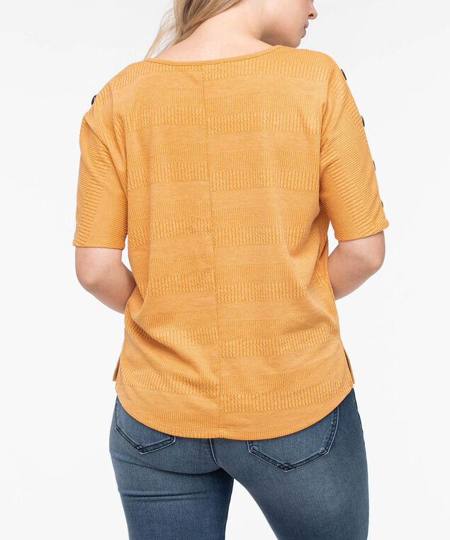 Short Sleeve Button Detail Top, Marigold, hi-res