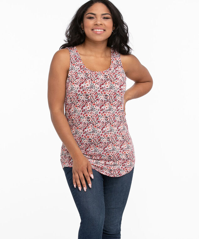 Scoop Neck Swing Tank, White/Red Prairie Ditsy Floral