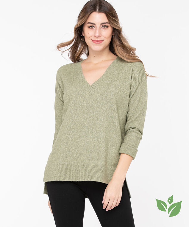Eco-Friendly V-Neck Sweater, Fog Green, hi-res