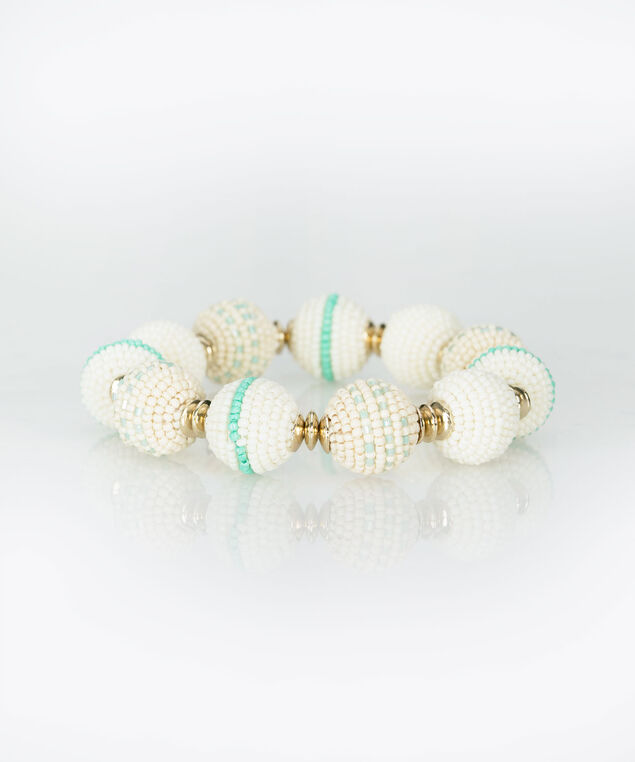 Beaded Ball Stretch Bracelet, Gold/Tropical Teal/Aqua, hi-res