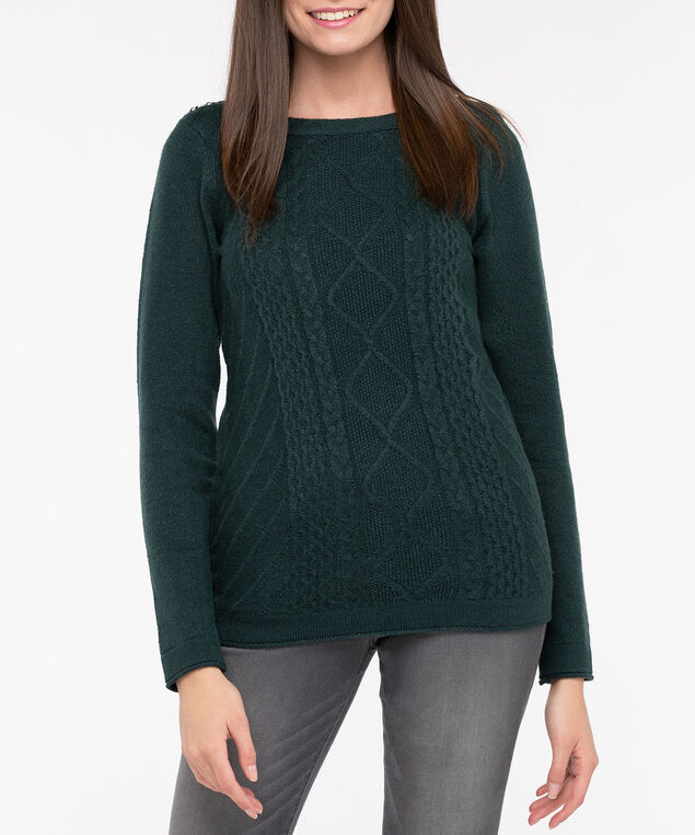 Button Boatneck Cable Front Pullover, Deep Green, hi-res