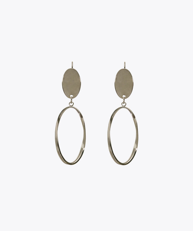Twisted Oval Earring, Rhodium, hi-res