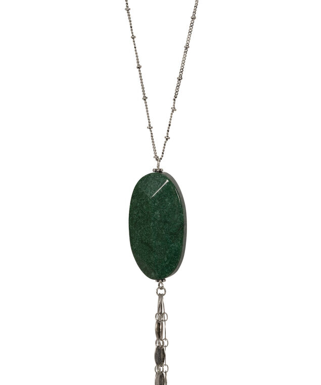 Natural Stone & Tassel Necklace, Jade/Burnished Silver, hi-res