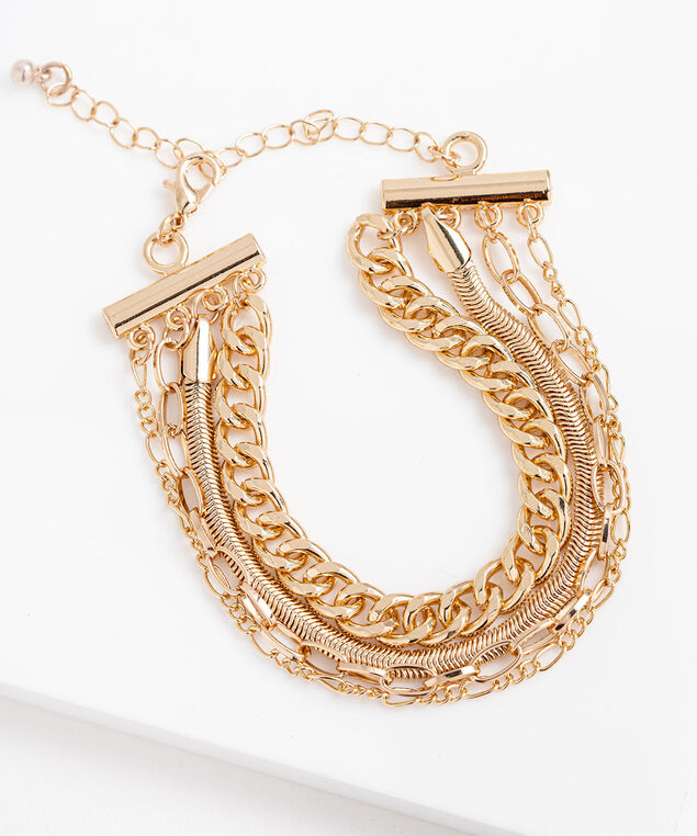 Mixed Chain Link Bracelet, Gold